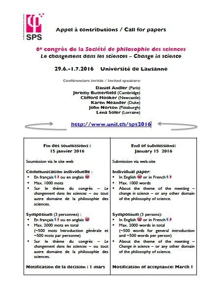 VIe Congrès de la Société de Philosophie des Sciences