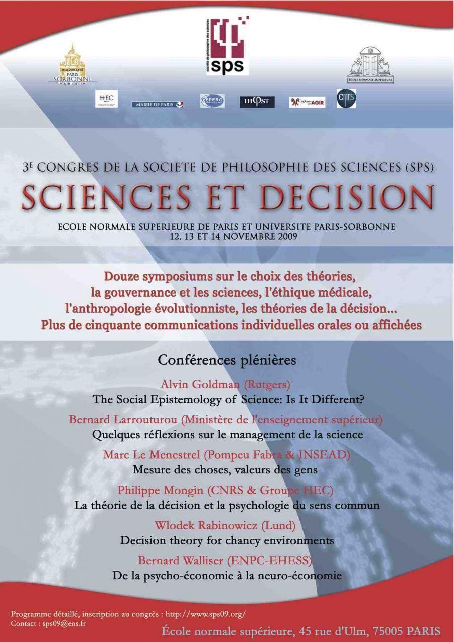 IIIe Congrès de la Société de philosophie des sciences