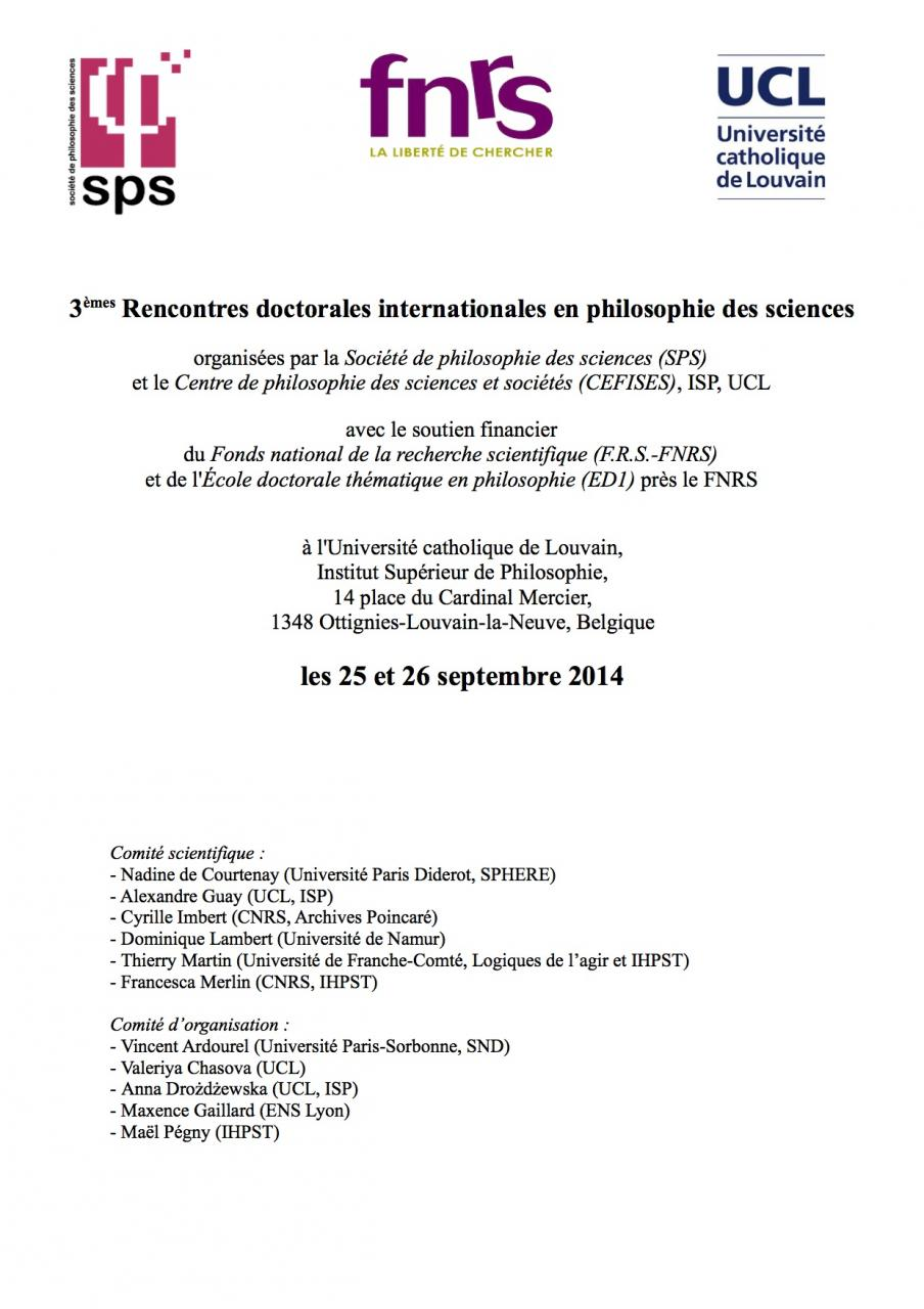 Appel à communications: 3èmes Rencontres doctorales internationales en philosophie des sciences